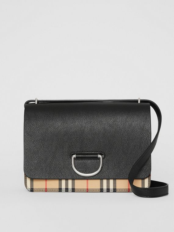 The Medium Vintage Check and Leather D-ring Bag in Black
