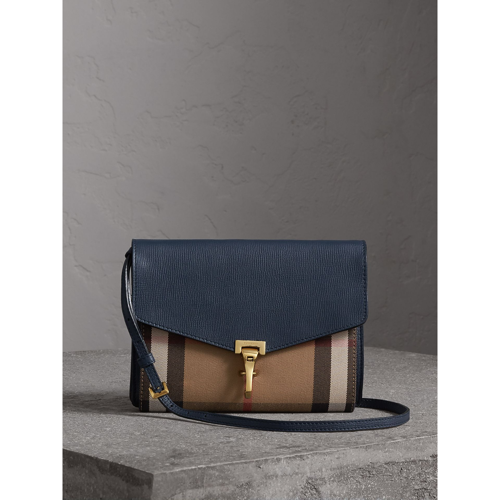 Small Leather and House Check Crossbody Bag in Ink Blue - Women | Burberry - gallery image 1