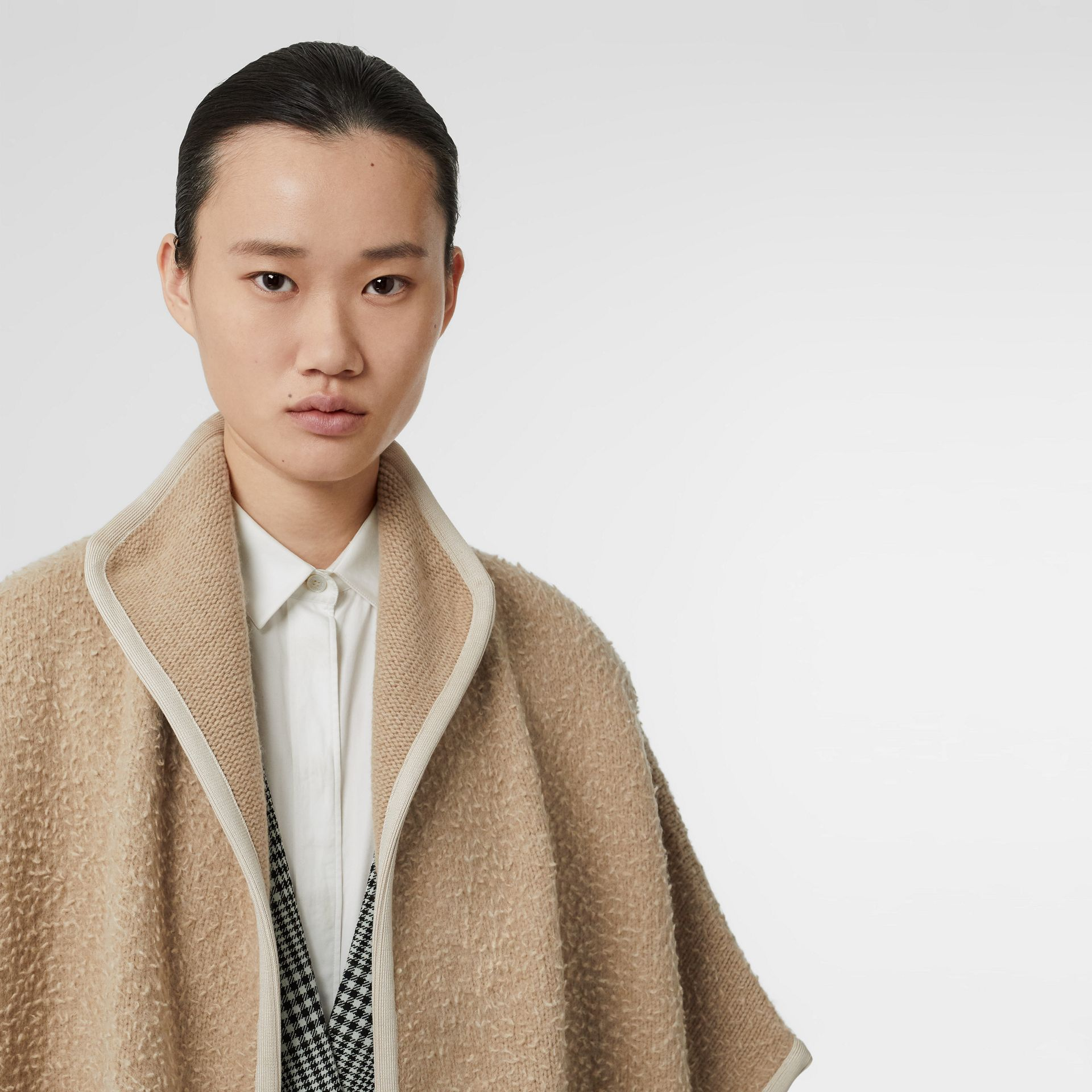 Wool Fleece Cape in Sand - Women | Burberry Australia - gallery image 1