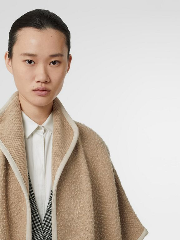 Wool Fleece Cape in Sand - Women | Burberry - cell image 1