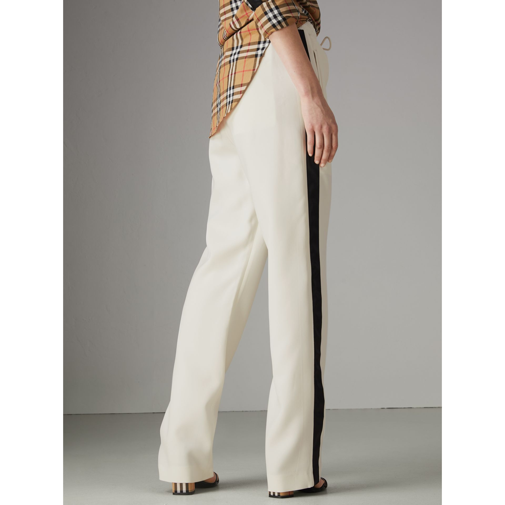 Stripe Detail Silk Wool Tailored Trackpants in Off White - Women | Burberry - gallery image 2