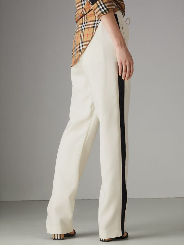 Stripe Detail Silk Wool Tailored Trackpants in Off White - Women | Burberry - cell image 2