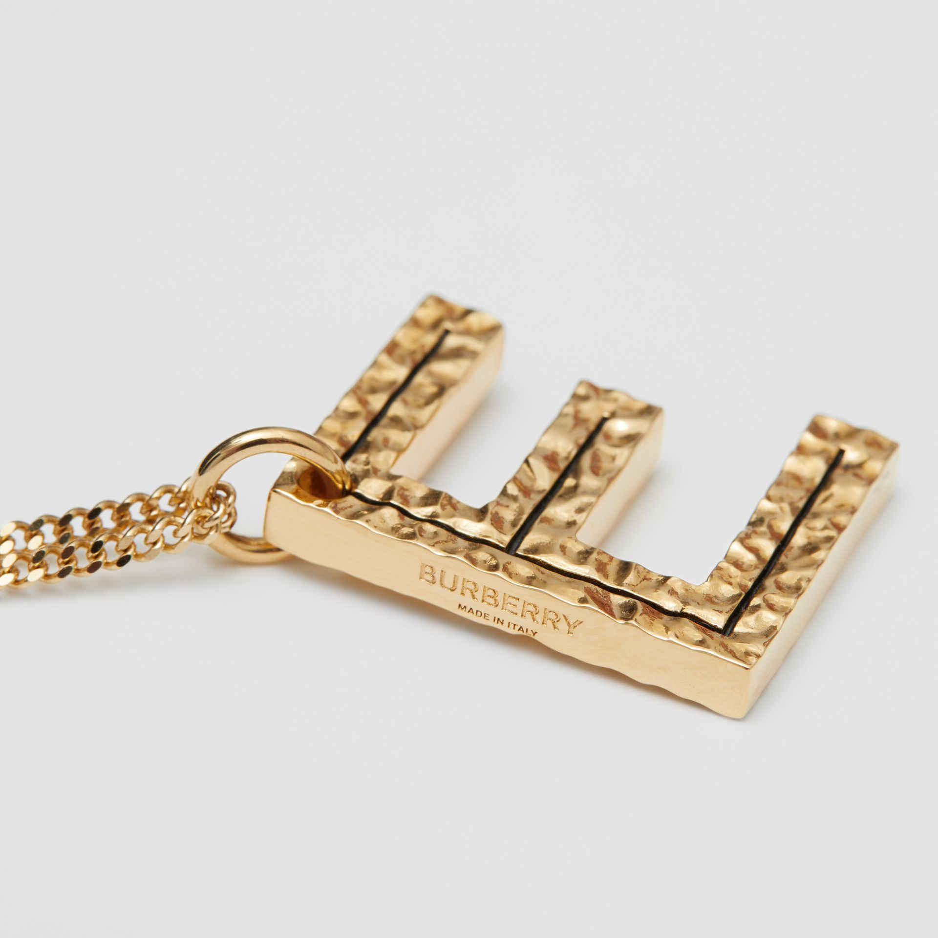 'E' Alphabet Charm Gold-plated Necklace in Light - Women | Burberry United Kingdom - gallery image 1
