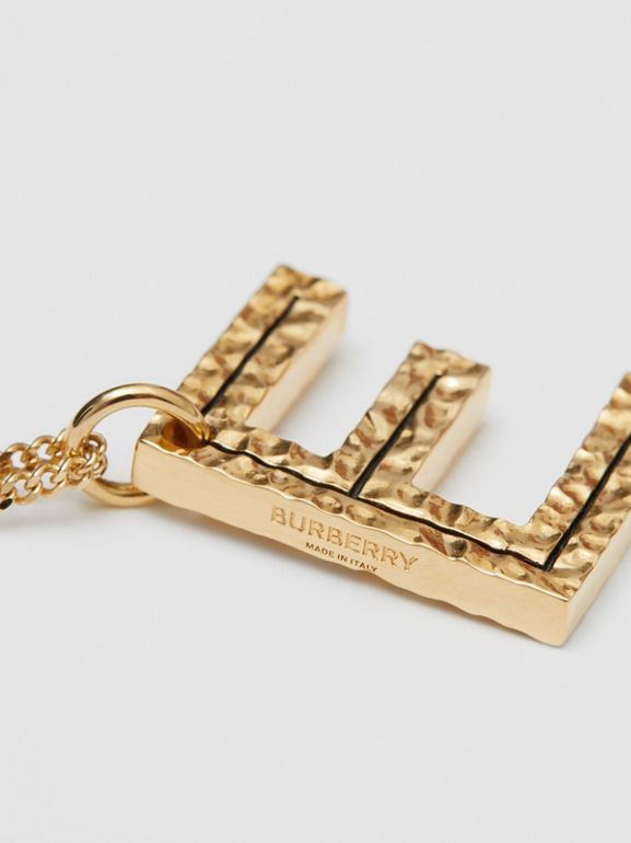 'E' Alphabet Charm Gold-plated Necklace in Light - Women | Burberry United Kingdom - cell image 1