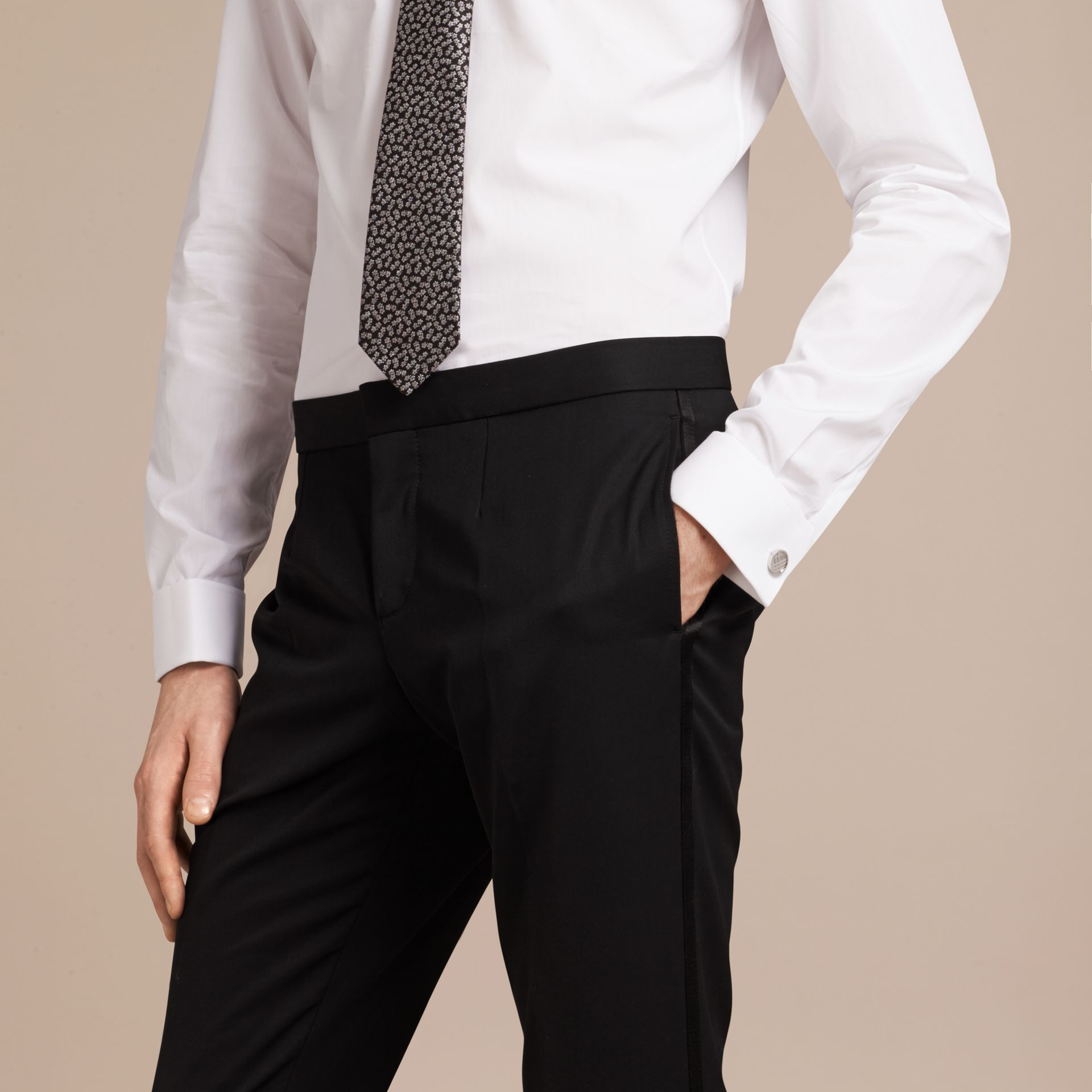 Slim Fit Double Cuff Cotton Poplin Shirt in White - Men | Burberry - gallery image 2