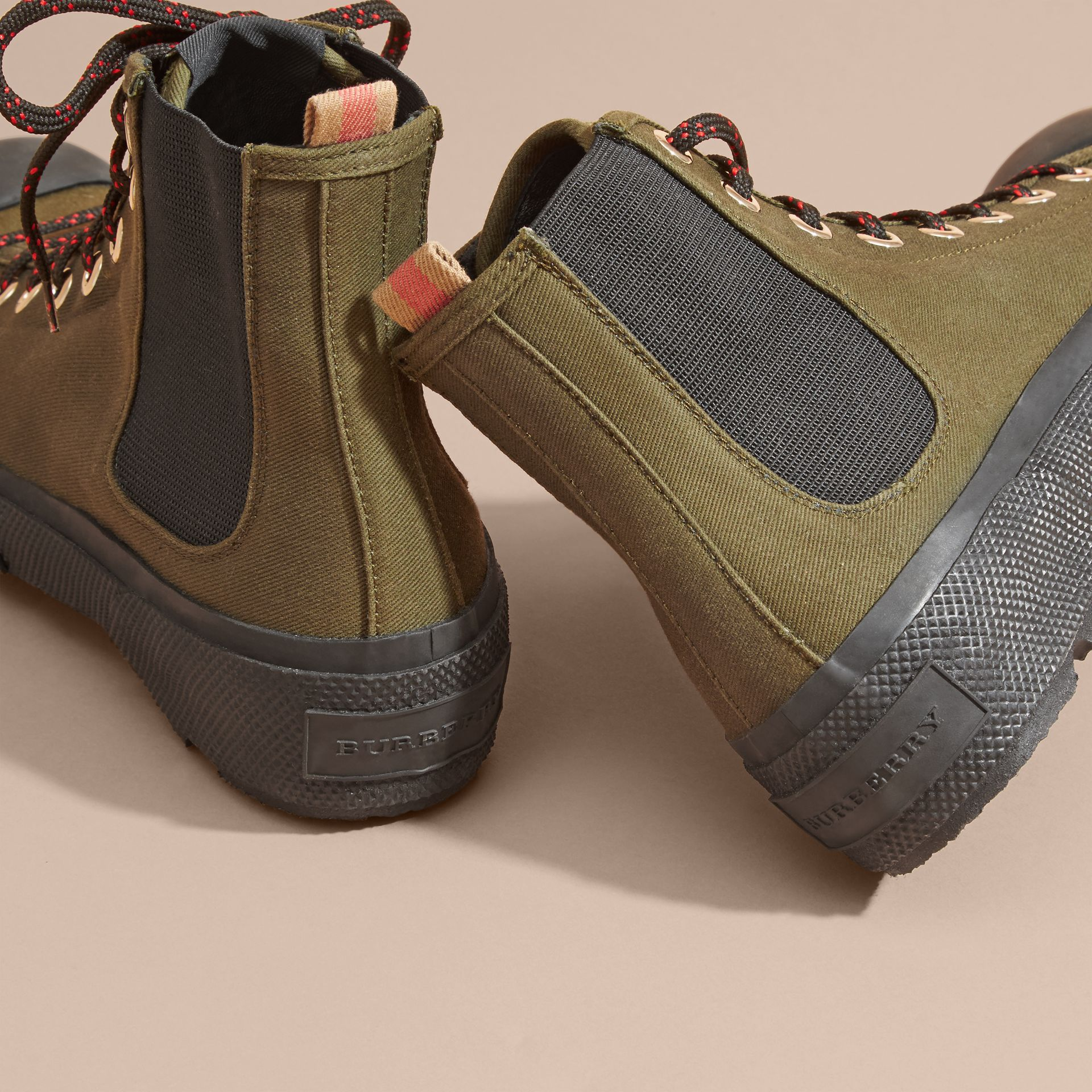 Khaki melange Technical Cotton and Vulcanised Rubber Boots - gallery image 4
