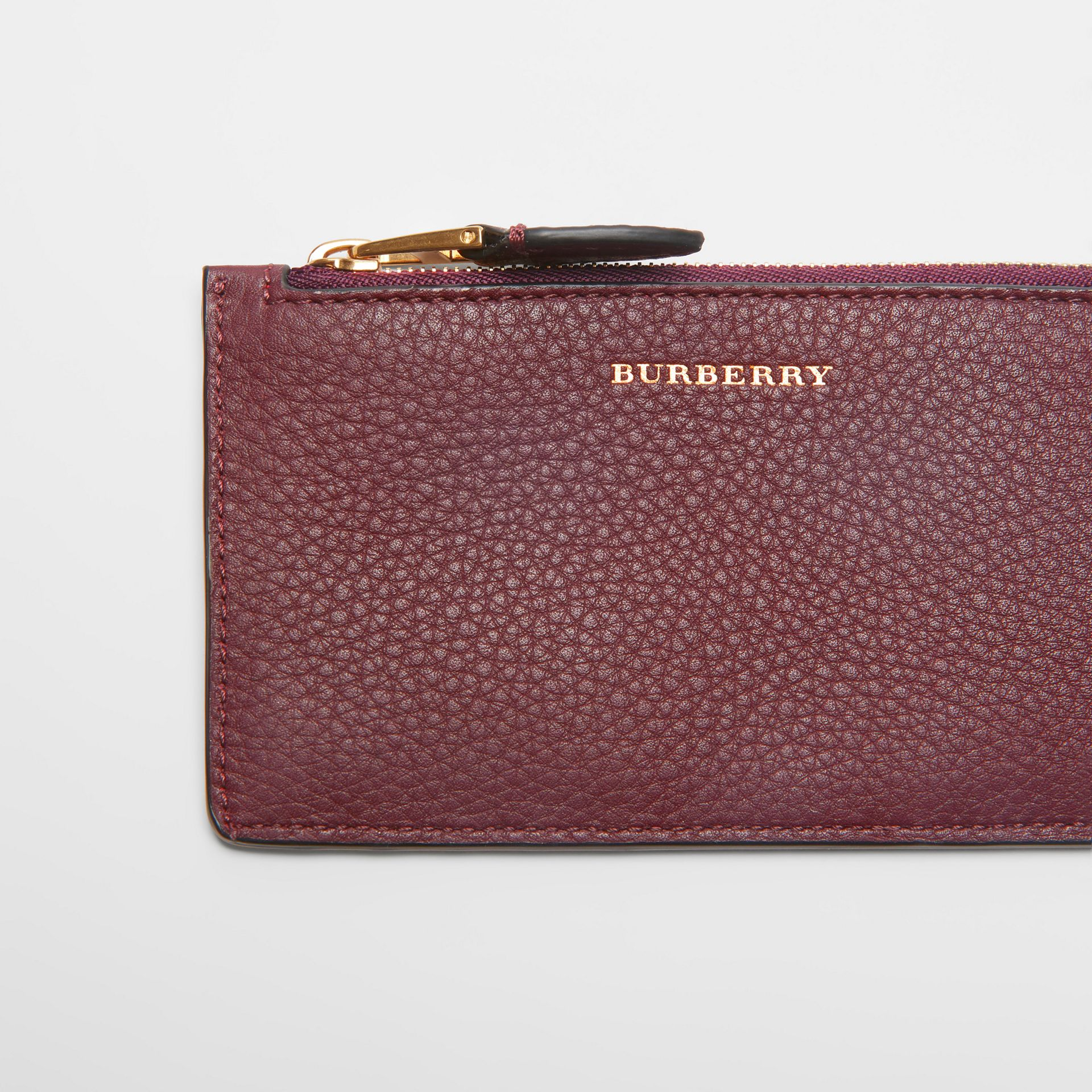 Two-tone Leather Zip Card Case in Deep Claret | Burberry - gallery image 1
