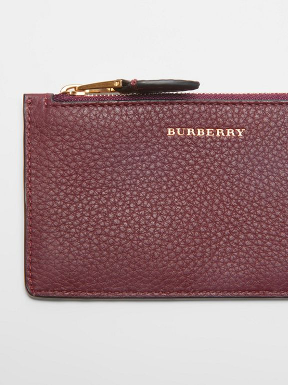 Two-tone Leather Zip Card Case in Deep Claret | Burberry United Kingdom - cell image 1