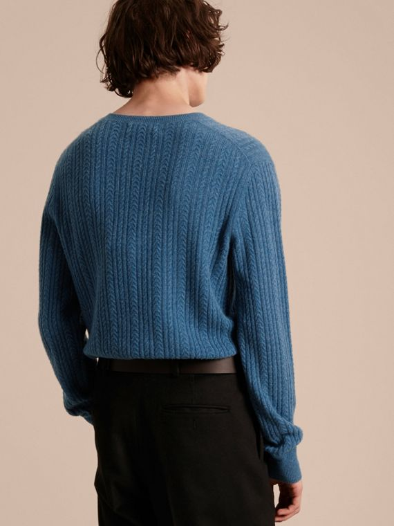 Aran Knit Cashmere Sweater in Hydrangea Blue - cell image 2