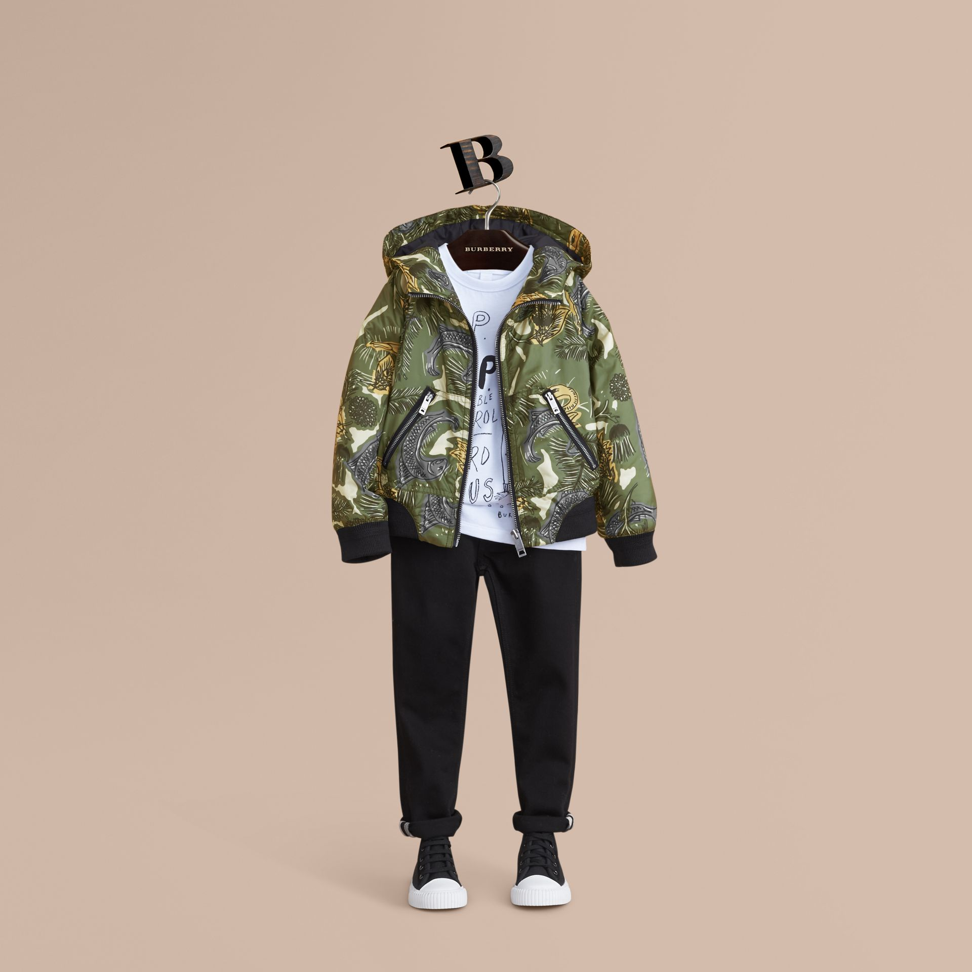 Beasts Print Hooded Bomber Jacket in Sage Green - Boy | Burberry - gallery image 1