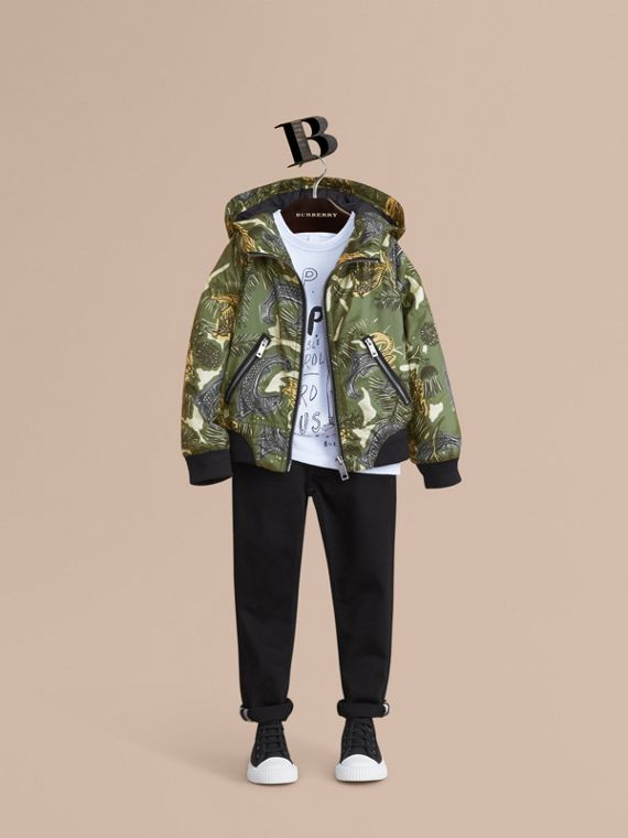 Beasts Print Hooded Bomber Jacket in Sage Green