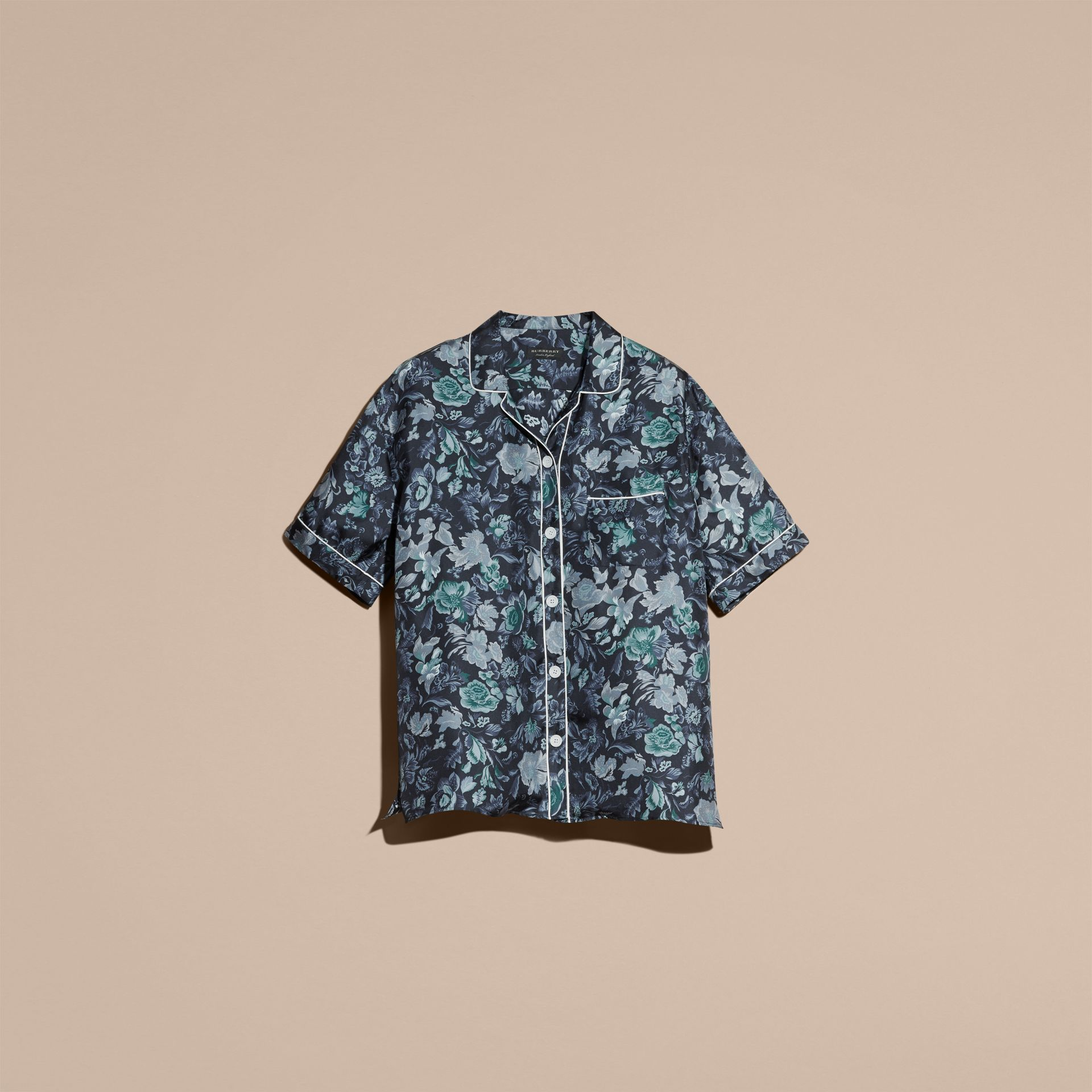 Navy Short-sleeved Floral Print Silk Pyjama-style Shirt Navy - gallery image 4