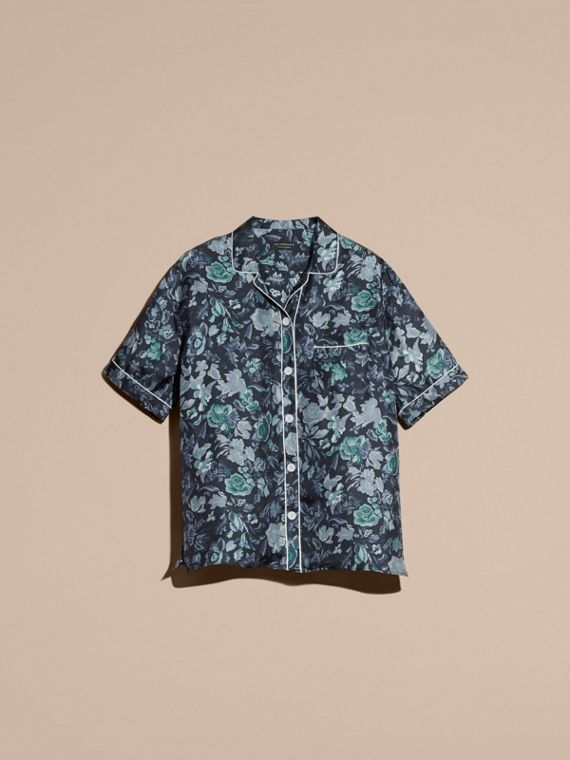 Navy Short-sleeved Floral Print Silk Pyjama-style Shirt Navy - cell image 3