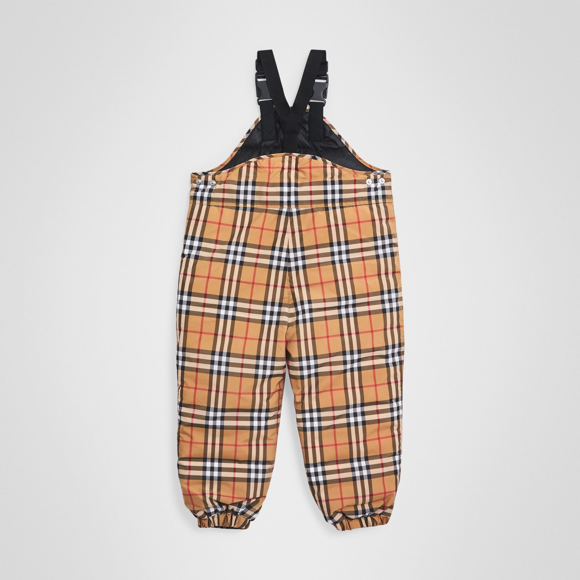 Showerproof Vintage Check Down-filled Dungarees in Antique Yellow - Boy | Burberry Australia - gallery image 3