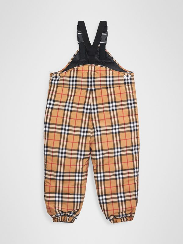 Showerproof Vintage Check Down-filled Dungarees in Antique Yellow - Boy | Burberry - cell image 3