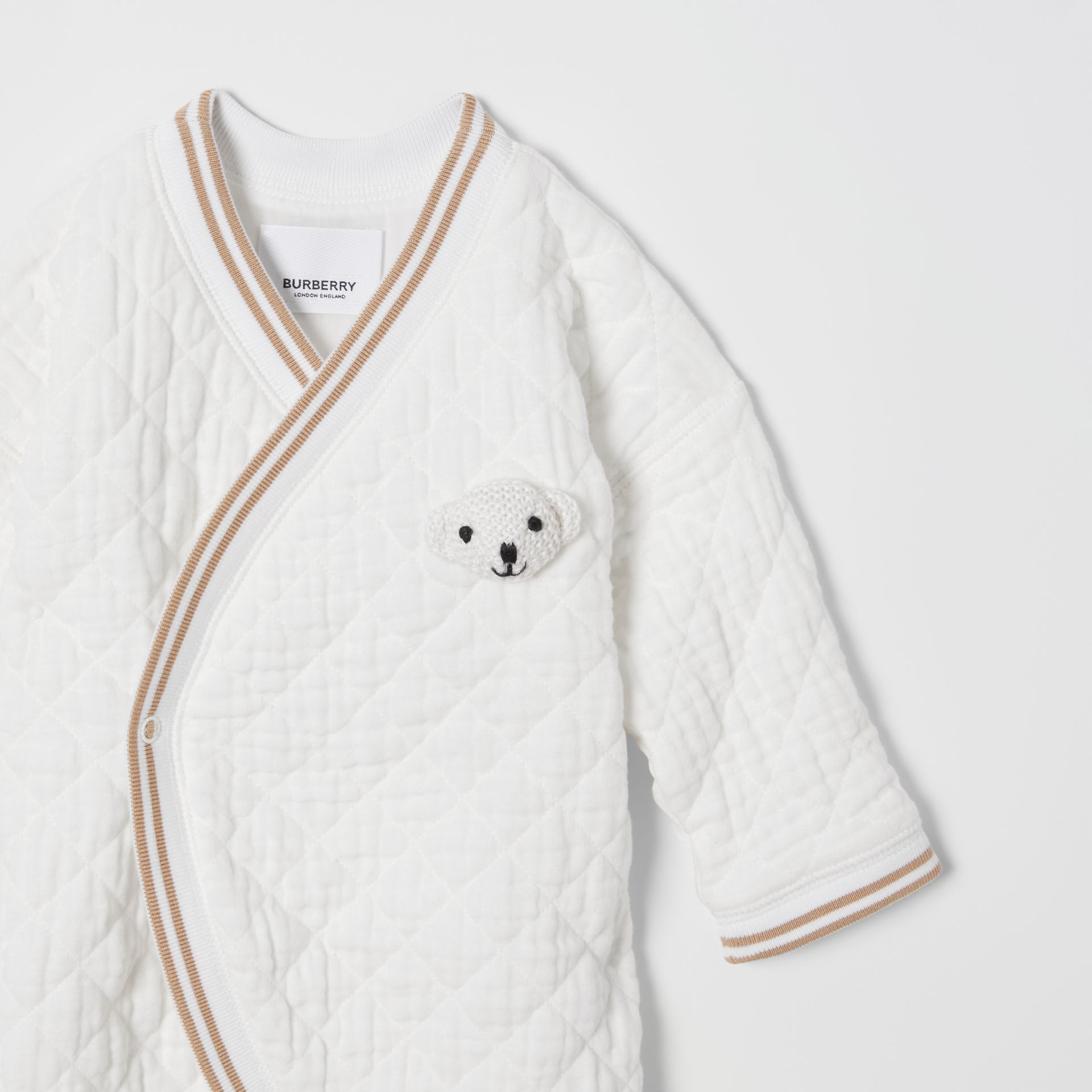 Thomas Bear Detail Quilted Cotton All-in-One in White - Children | Burberry - gallery image 3
