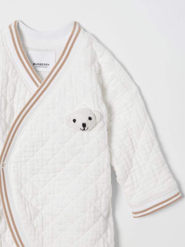 Thomas Bear Detail Quilted Cotton All-in-One in White - Children | Burberry - cell image 3