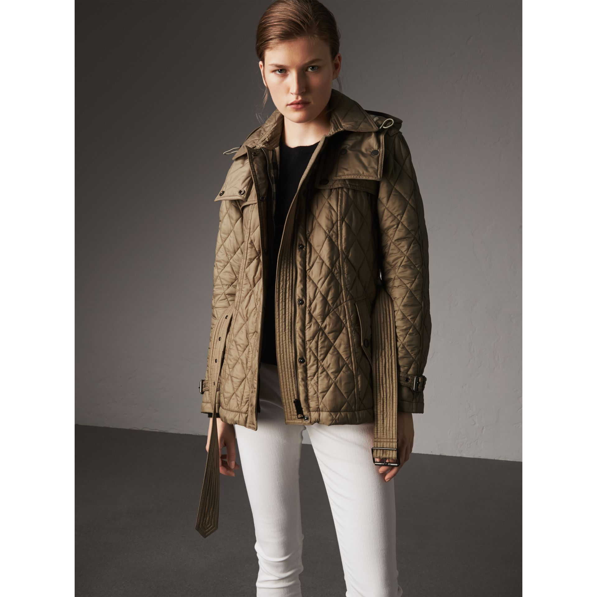 Quilted Trench Jacket with Detachable Hood in Pale Fawn - Women | Burberry - gallery image 7