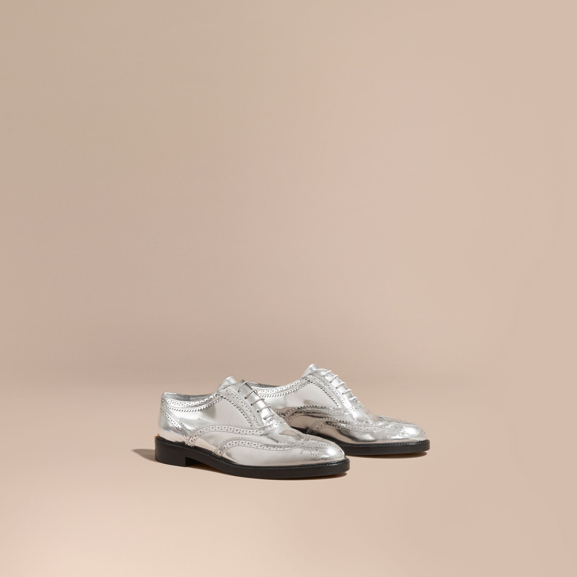 Metallic Leather Wingtip Brogues in Silver - gallery image 1