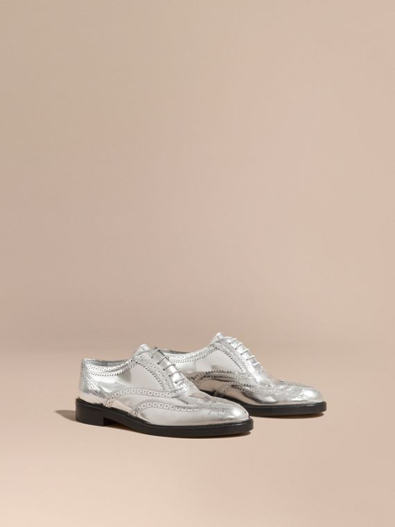 Metallic Leather Wingtip Brogues in Silver