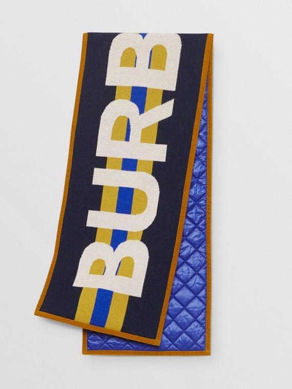 Écharpe en laine mérinos avec logo en jacquard (Marine)