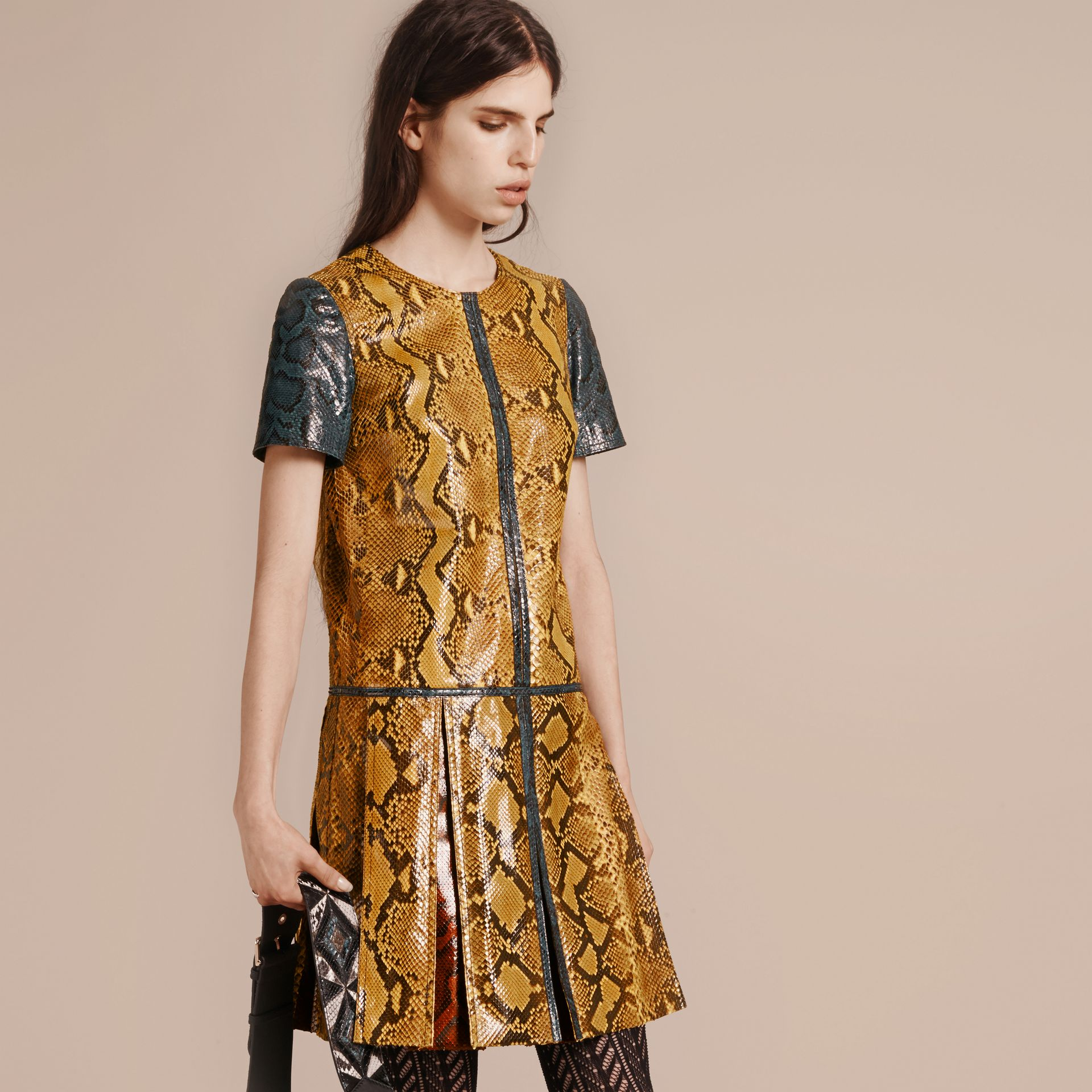 Amber yellow Patchwork Python T-shirt Dress - gallery image 7