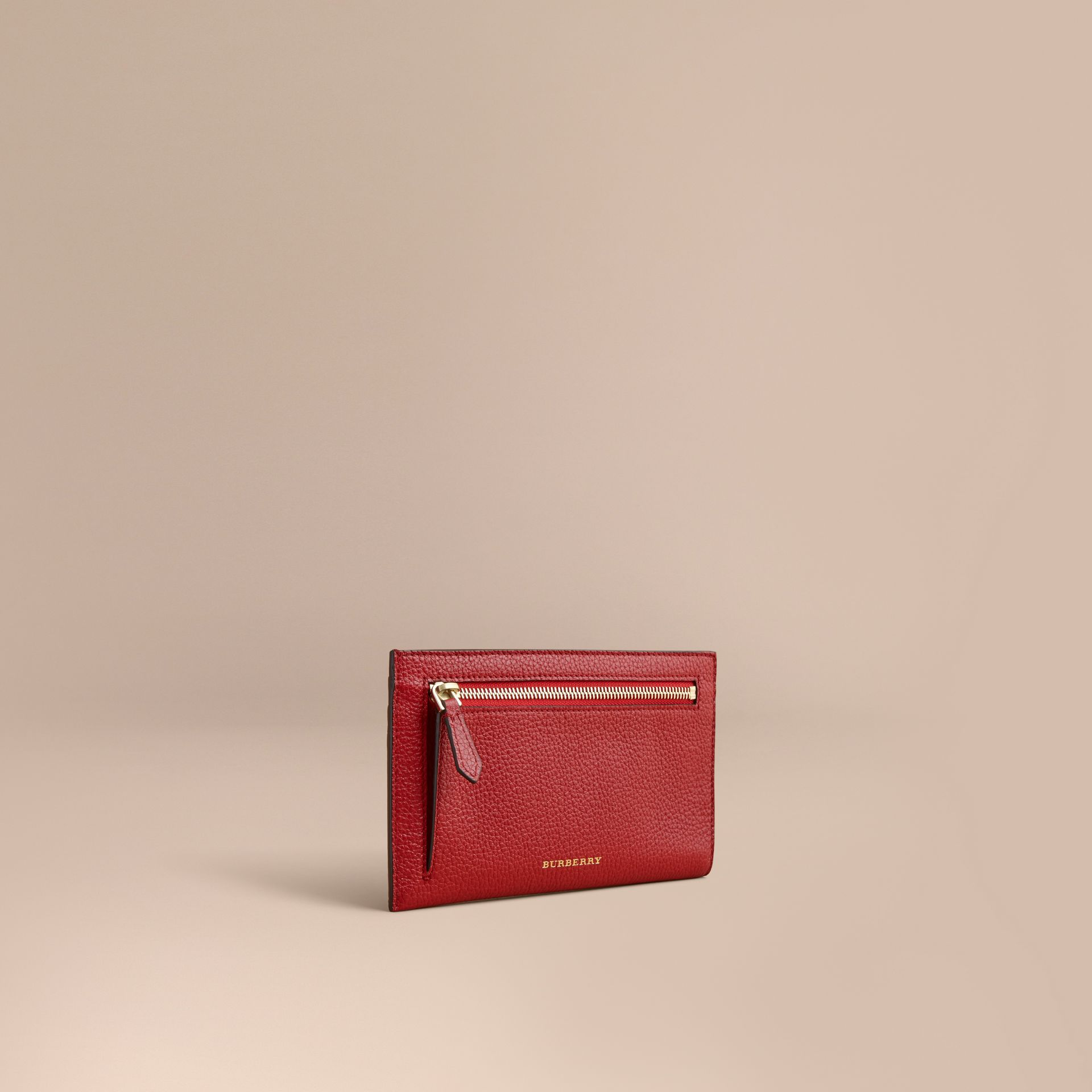 Grainy Leather Travel Case in Parade Red - Women | Burberry - gallery image 1