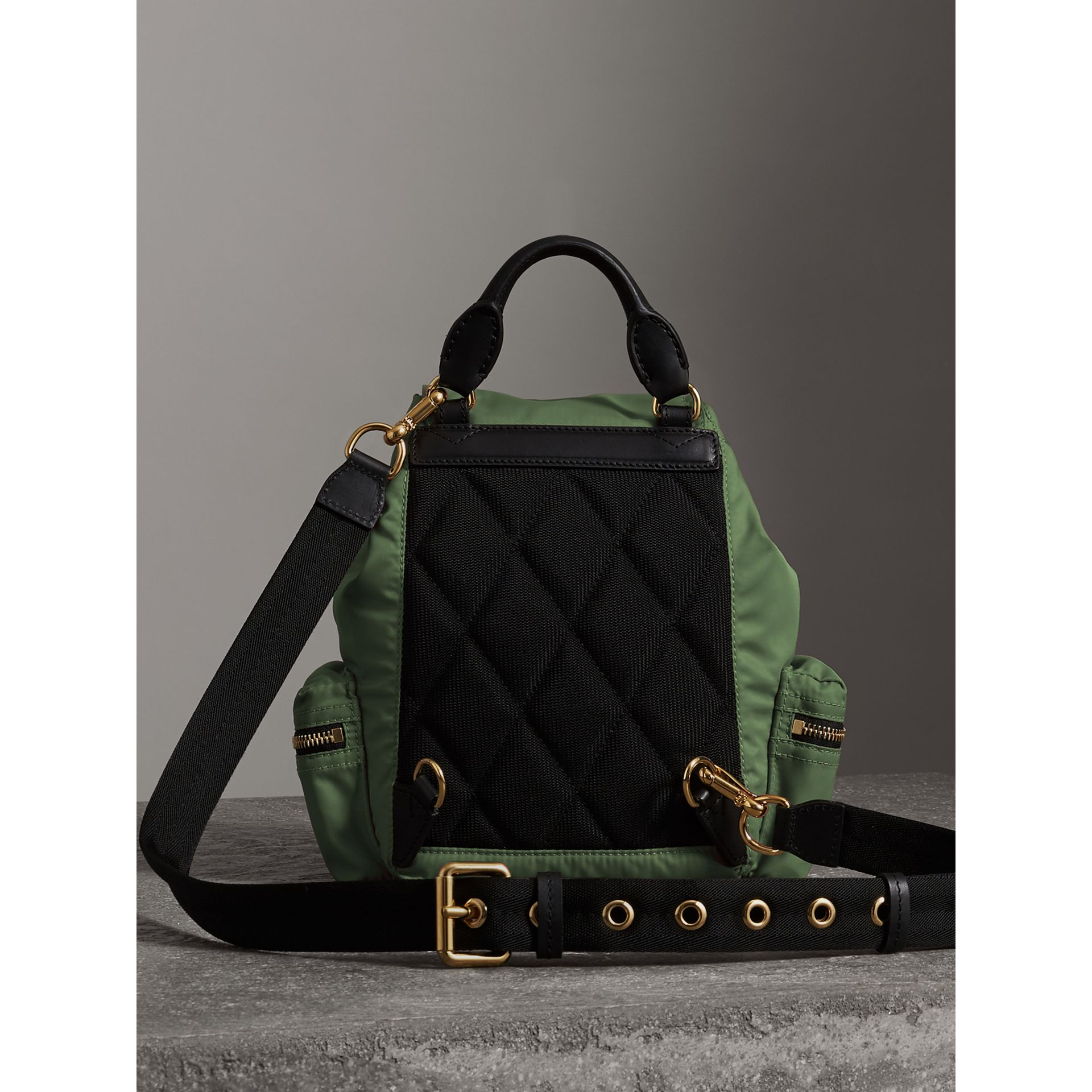 The Small Crossbody Rucksack in Nylon in Racing Green - Women | Burberry - gallery image 6