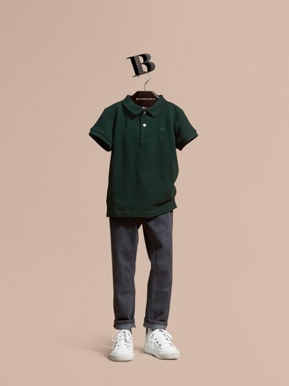 Poloshirt mit Check-Knopfleiste Englisch-grün
