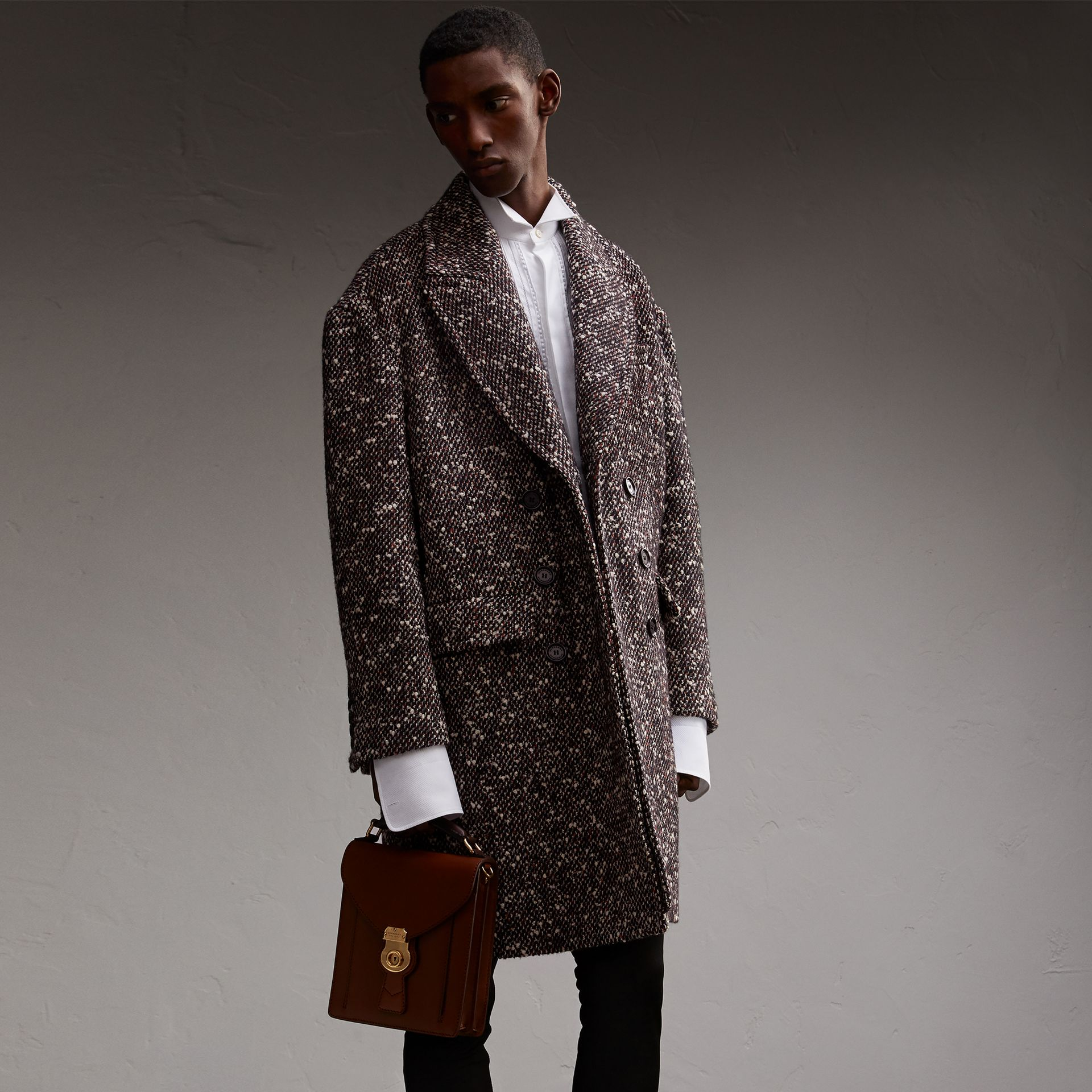 Wool Mohair Blend Tweed Topcoat - Men | Burberry - gallery image 1