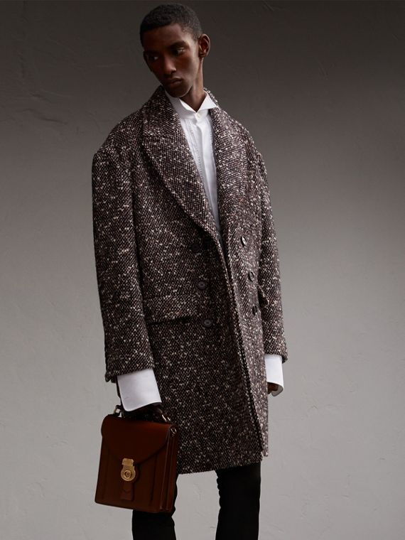 Wool Mohair Blend Tweed Topcoat