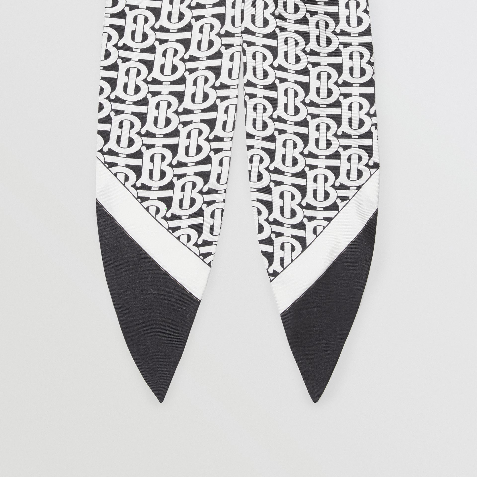 Monogram Print Silk Hair Scarf in Monochrome - Women | Burberry United States - gallery image 3
