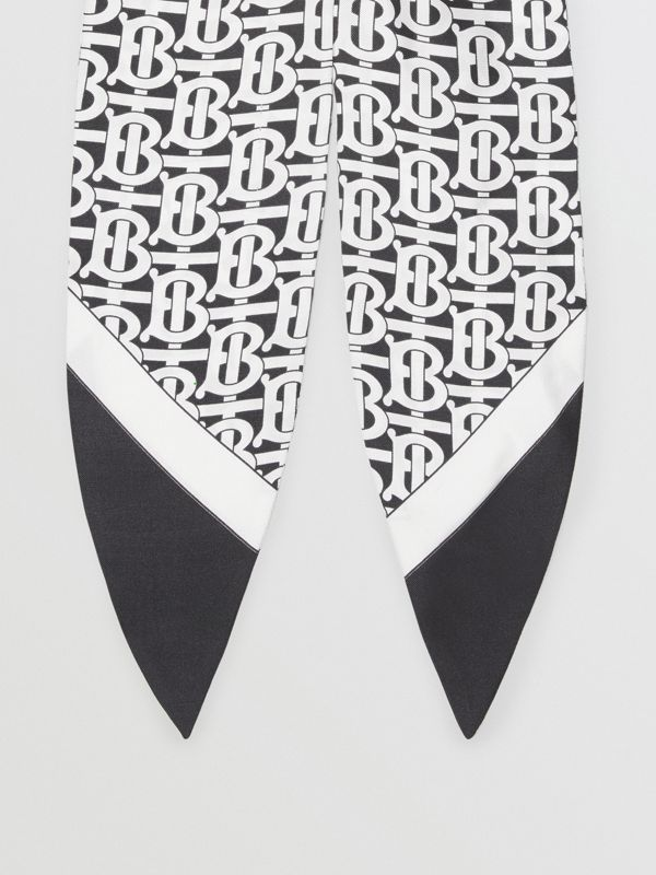 Monogram Print Silk Hair Scarf in Monochrome - Women | Burberry - cell image 3