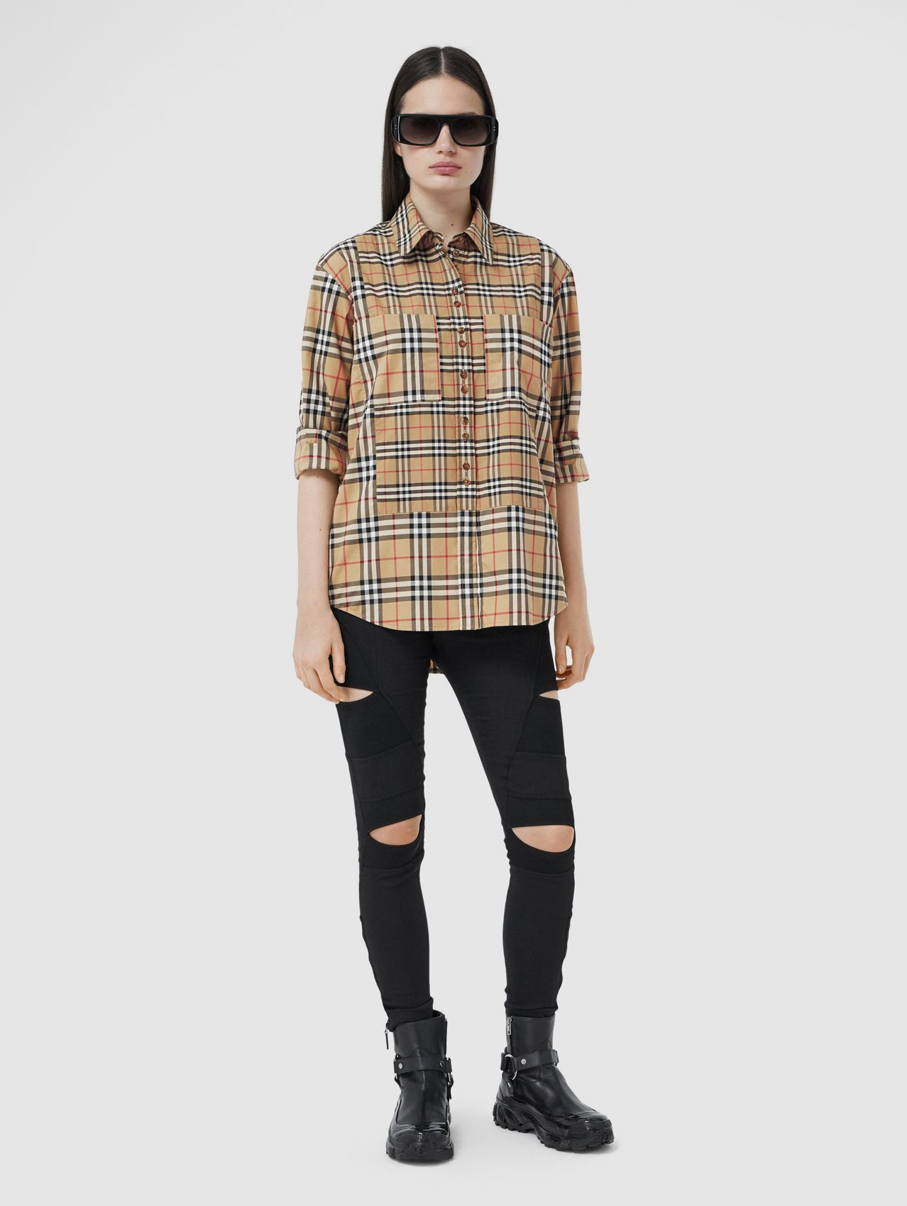 Contrast Check Stretch Cotton Shirt in Archive Beige