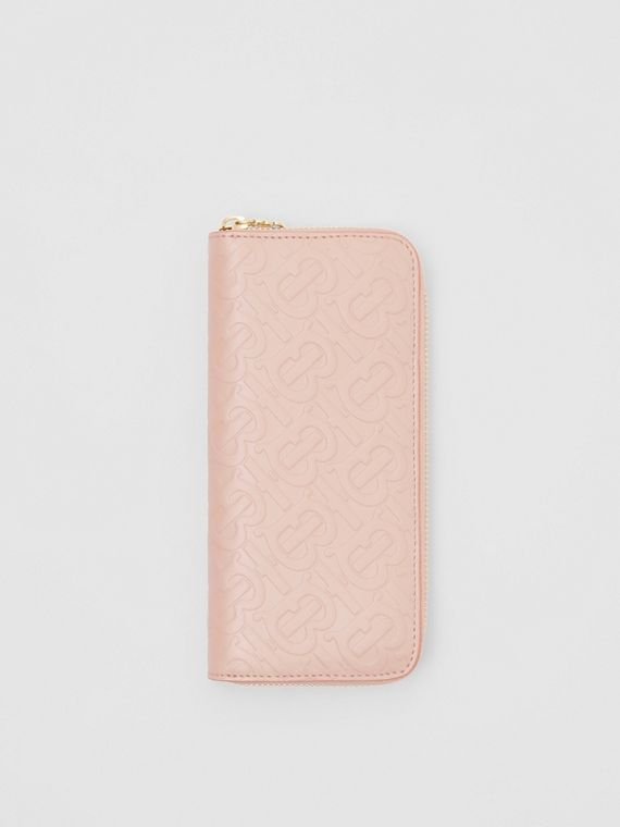 Monogram Leather Ziparound Wallet in Rose Beige