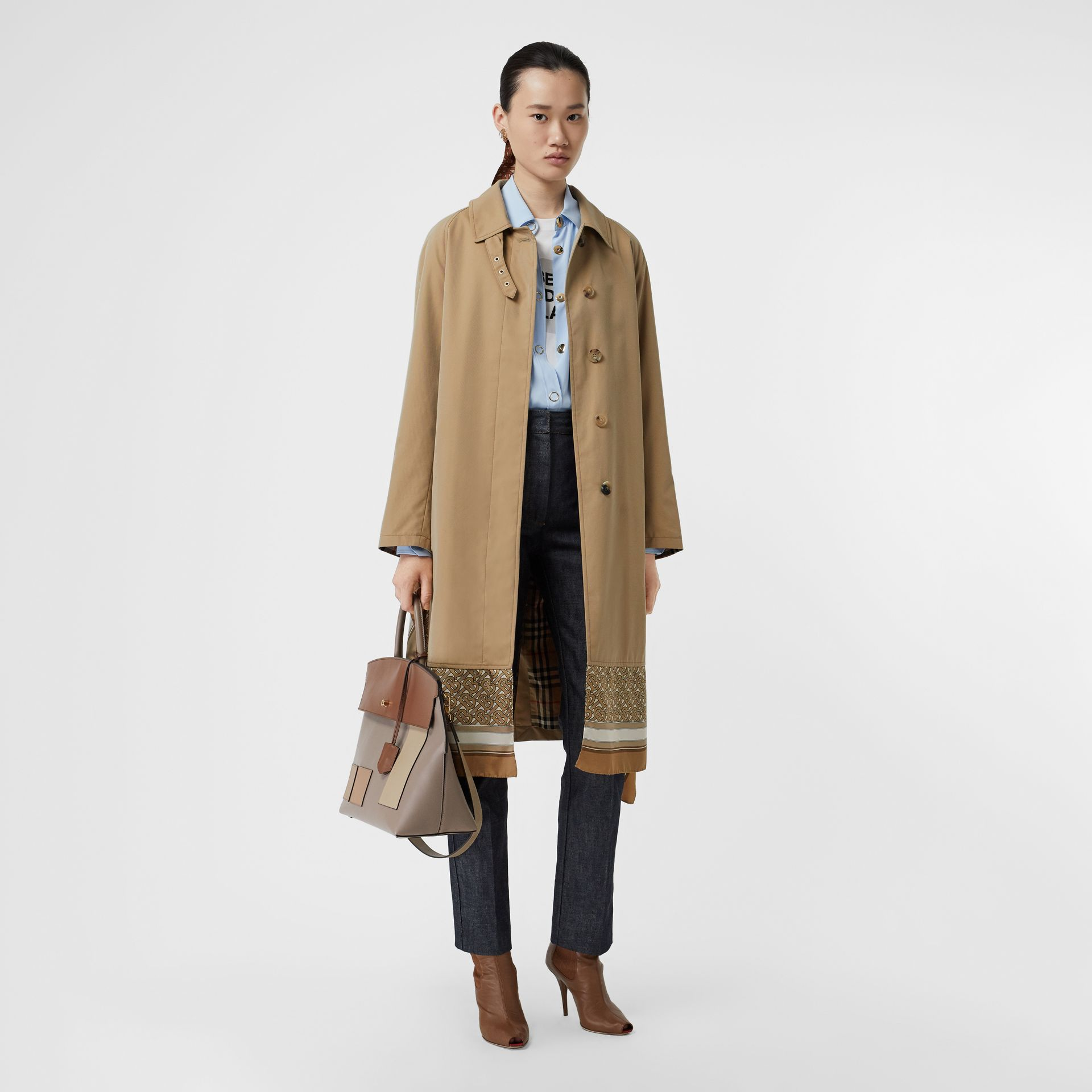 Monogram Print Silk Panel Cotton Car Coat in Pale Honey - Women | Burberry - gallery image 0