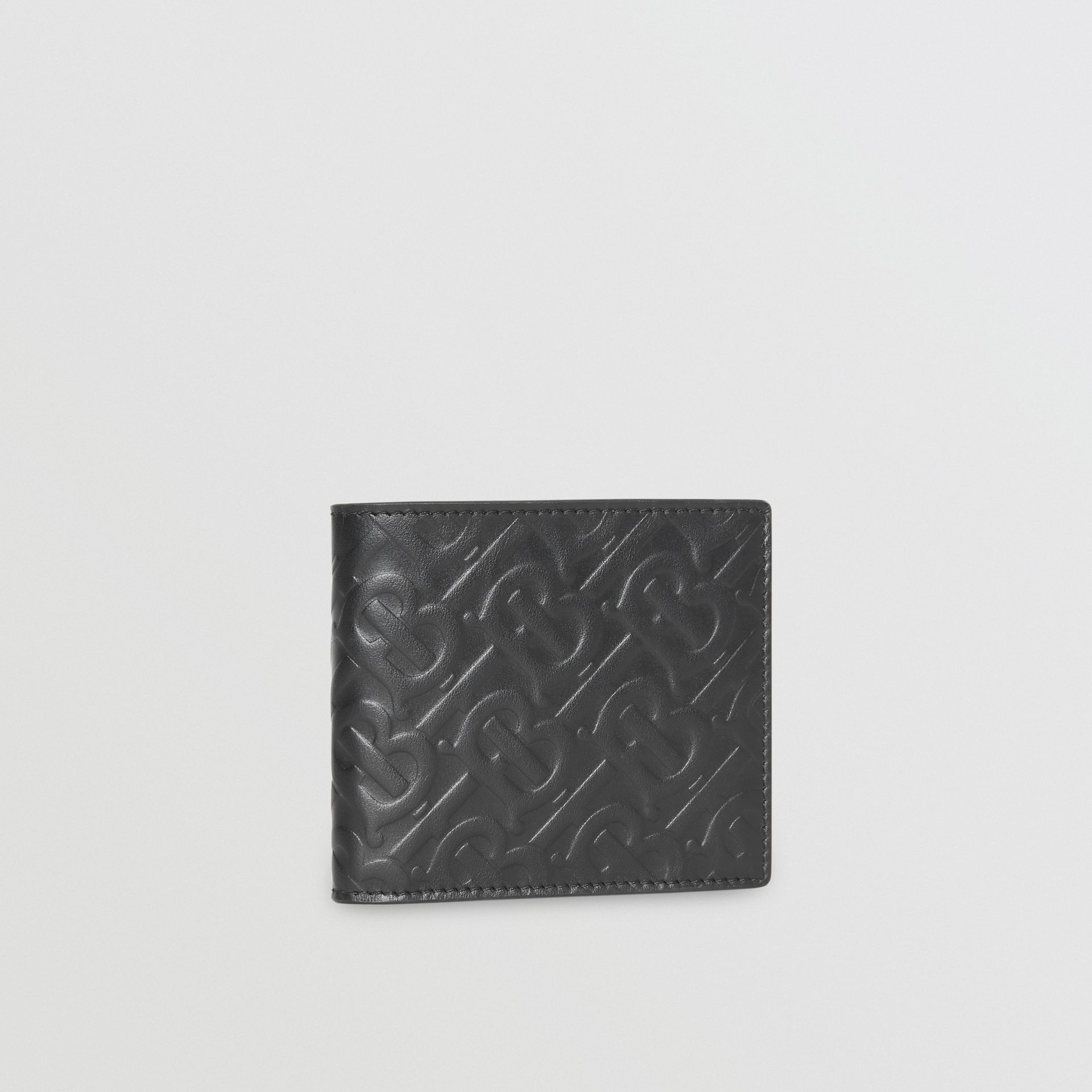 Monogram Leather International Bifold Wallet in Black | Burberry United States - gallery image 4