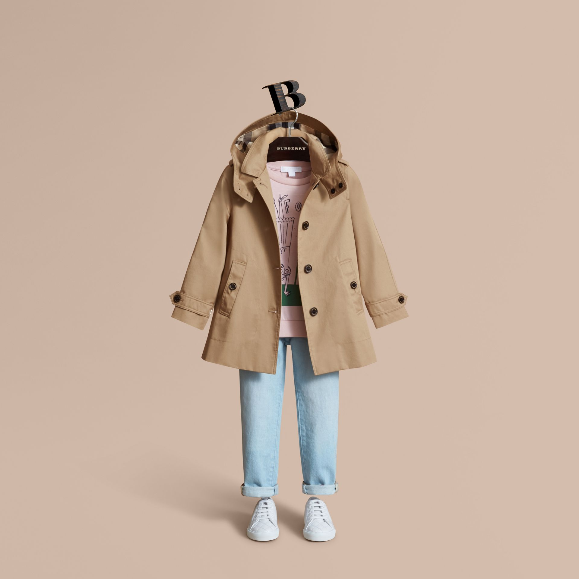 Detachable Hood Cotton Car Coat - Girl | Burberry - gallery image 1