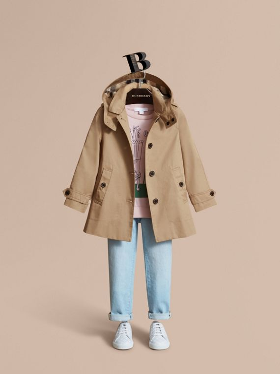 Detachable Hood Cotton Car Coat - Girl | Burberry Singapore