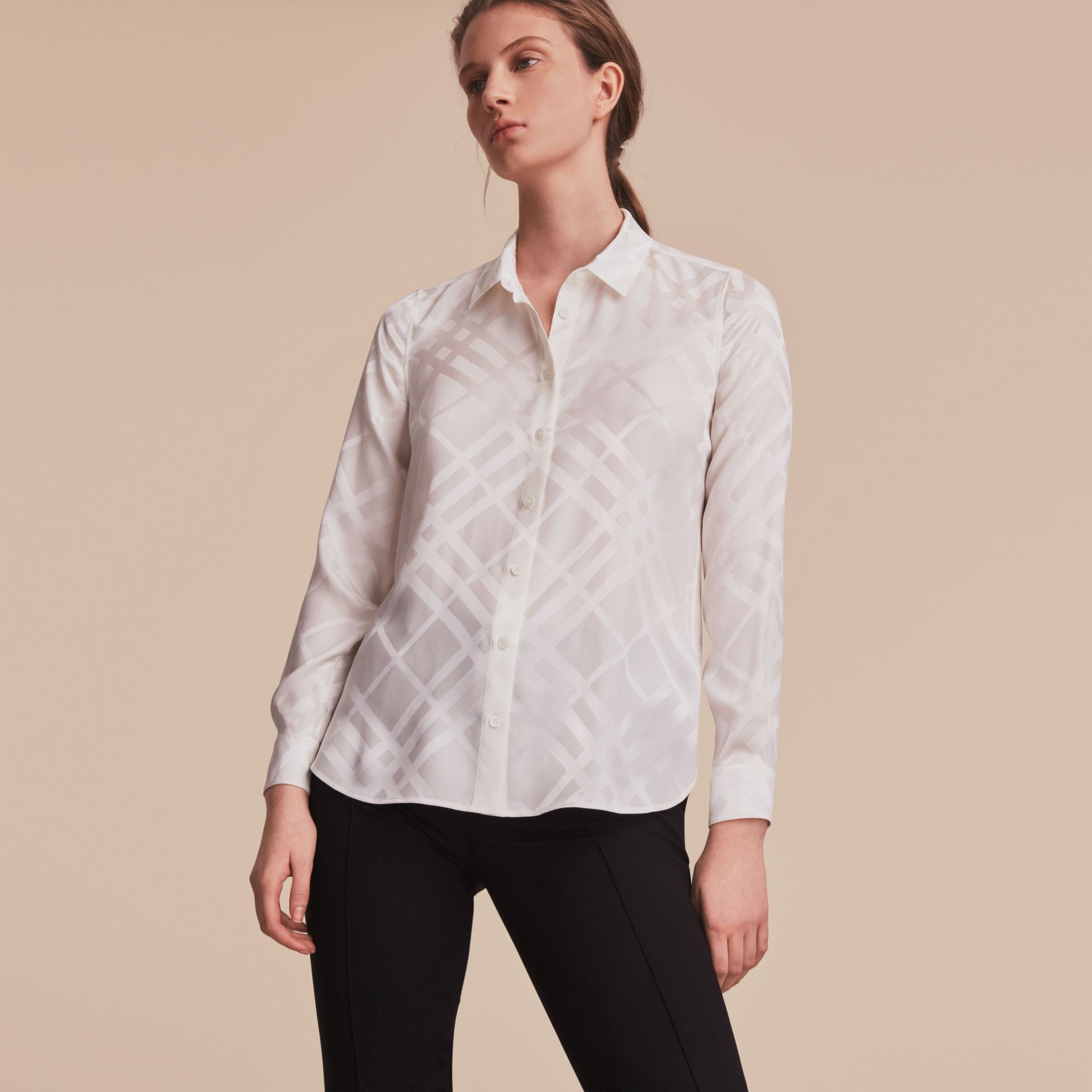 Tonal Check Silk Shirt in White - Women | Burberry - gallery image 6