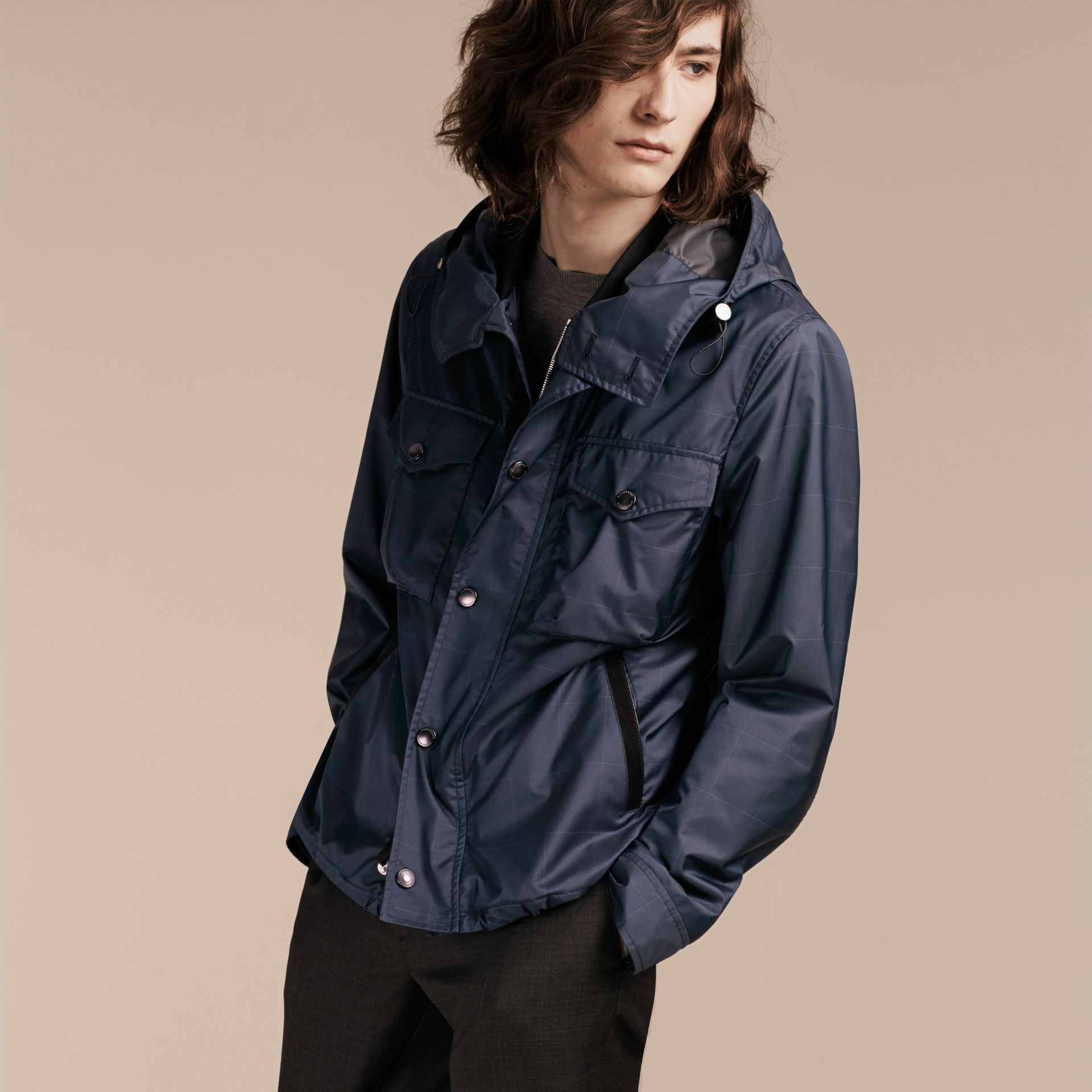 Navy Hooded Technical Jacket with Lambskin Trim - gallery image 7