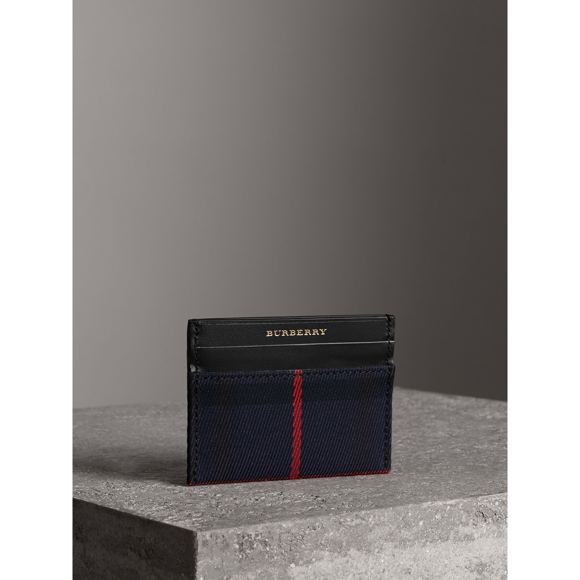 Tartan Check and Leather Card Case in Deep Navy/black | Burberry - gallery image 5