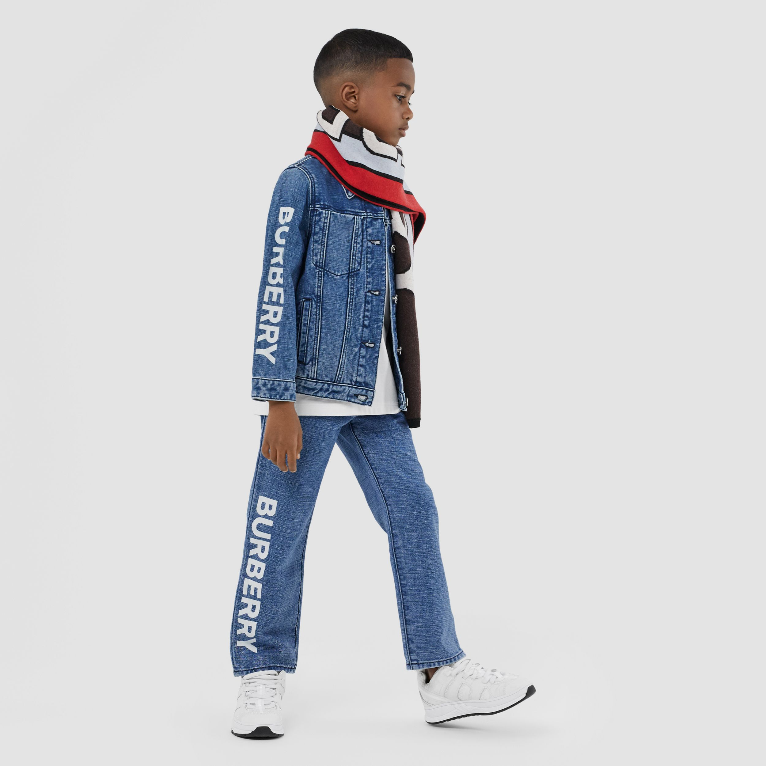 Logo Print Japanese Denim Jacket in Indigo | Burberry - 4