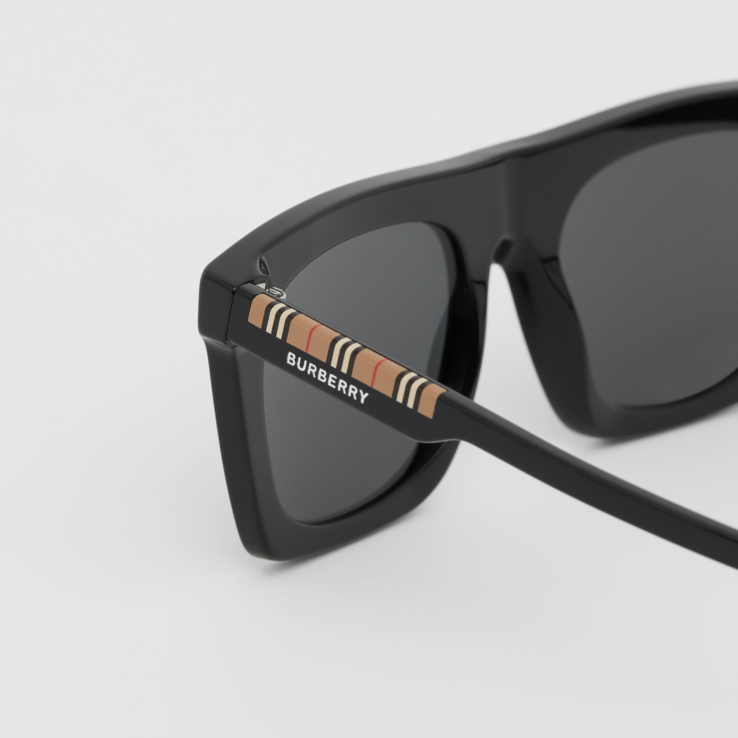 Icon Stripe Detail Rectangular Frame Sunglasses in Black - Men | Burberry - 2