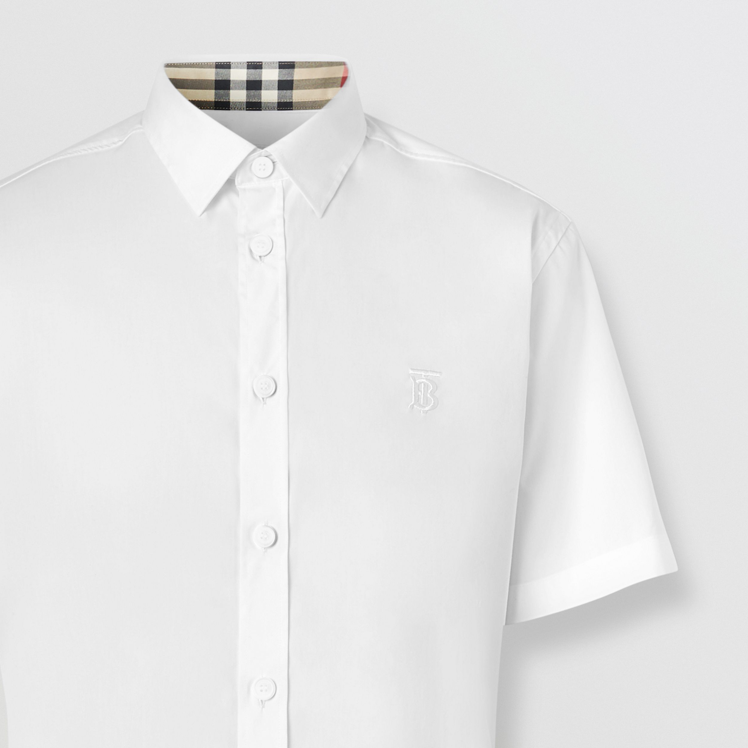 Short-sleeve Monogram Motif Stretch Cotton Shirt in White - Men | Burberry United States - 2