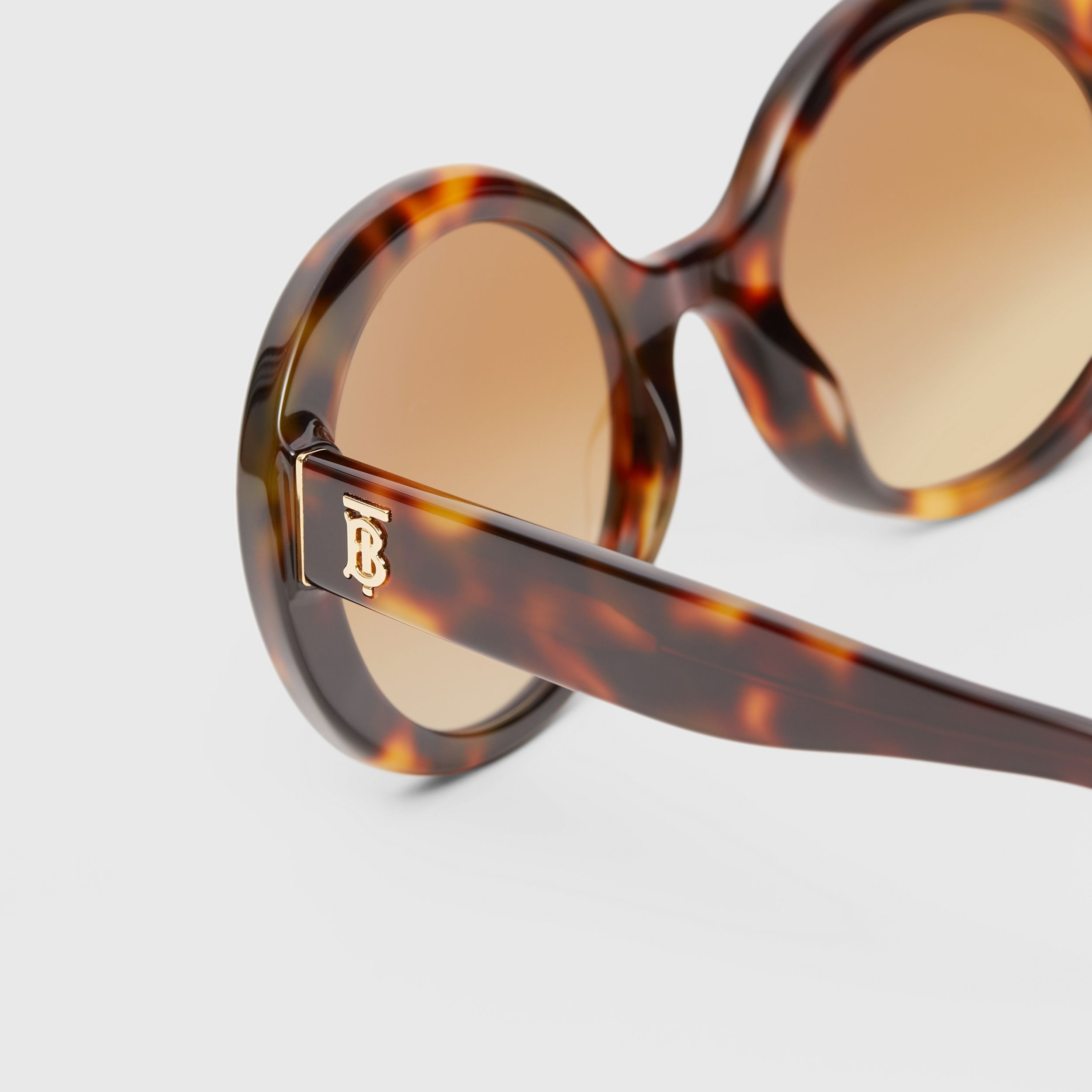 Oversized Round Frame Sunglasses in Dark Tortoise Amber - Women | Burberry - 2