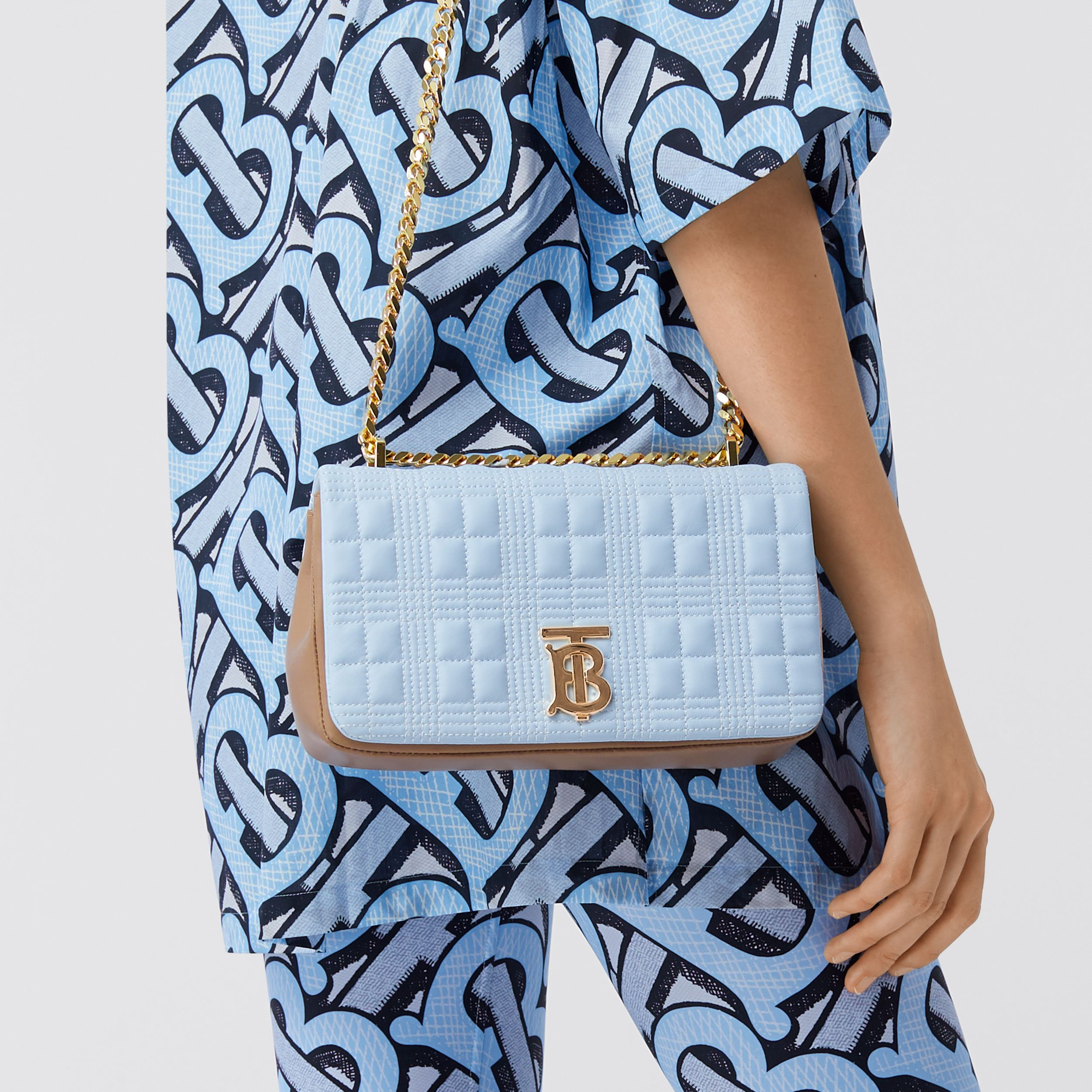 Small Quilted Tri-tone Lambskin Lola Bag in Pale Blue/camel/black - Women | Burberry Singapore - 3