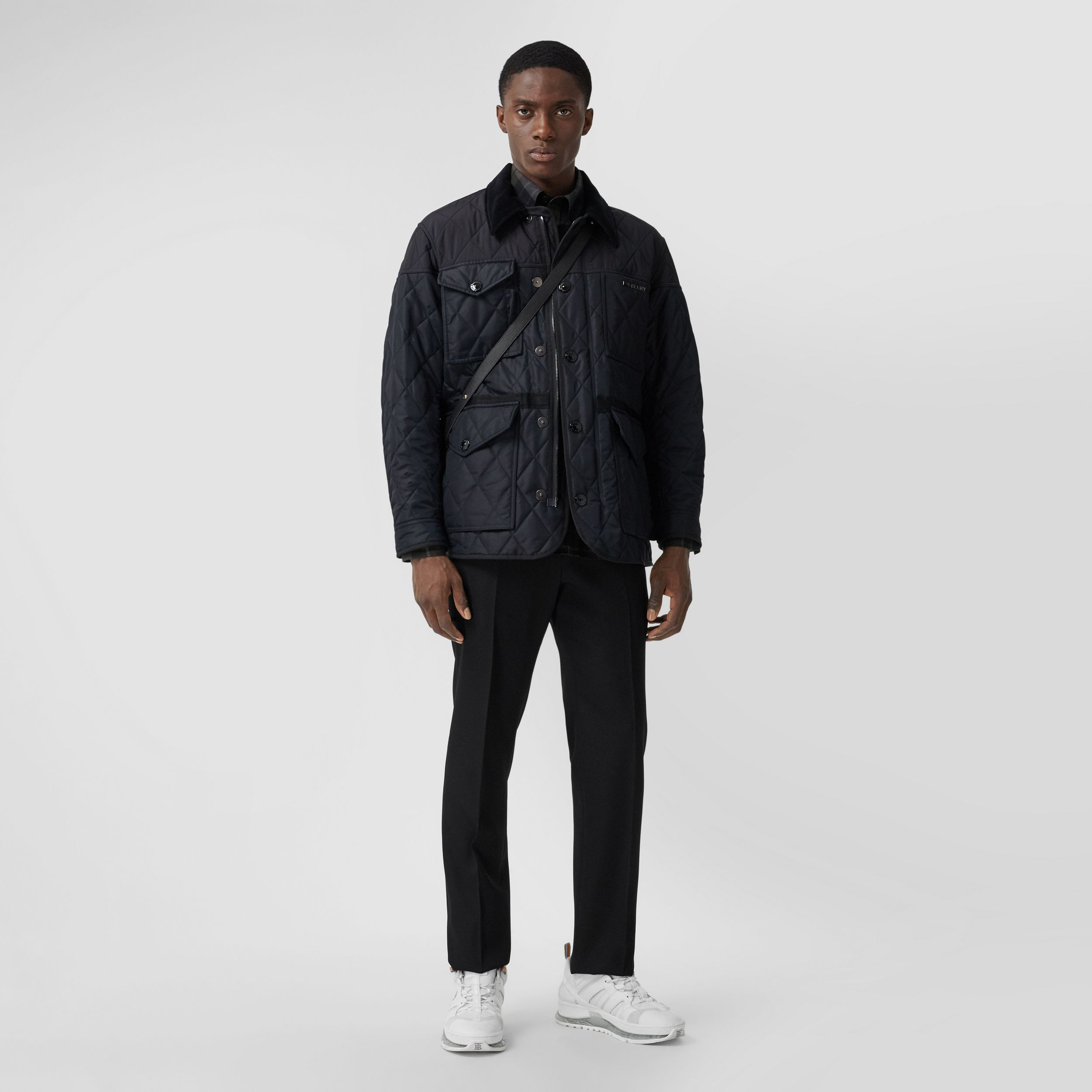 Diamond Quilted Thermoregulated Field Jacket in Navy - Men | Burberry - 1