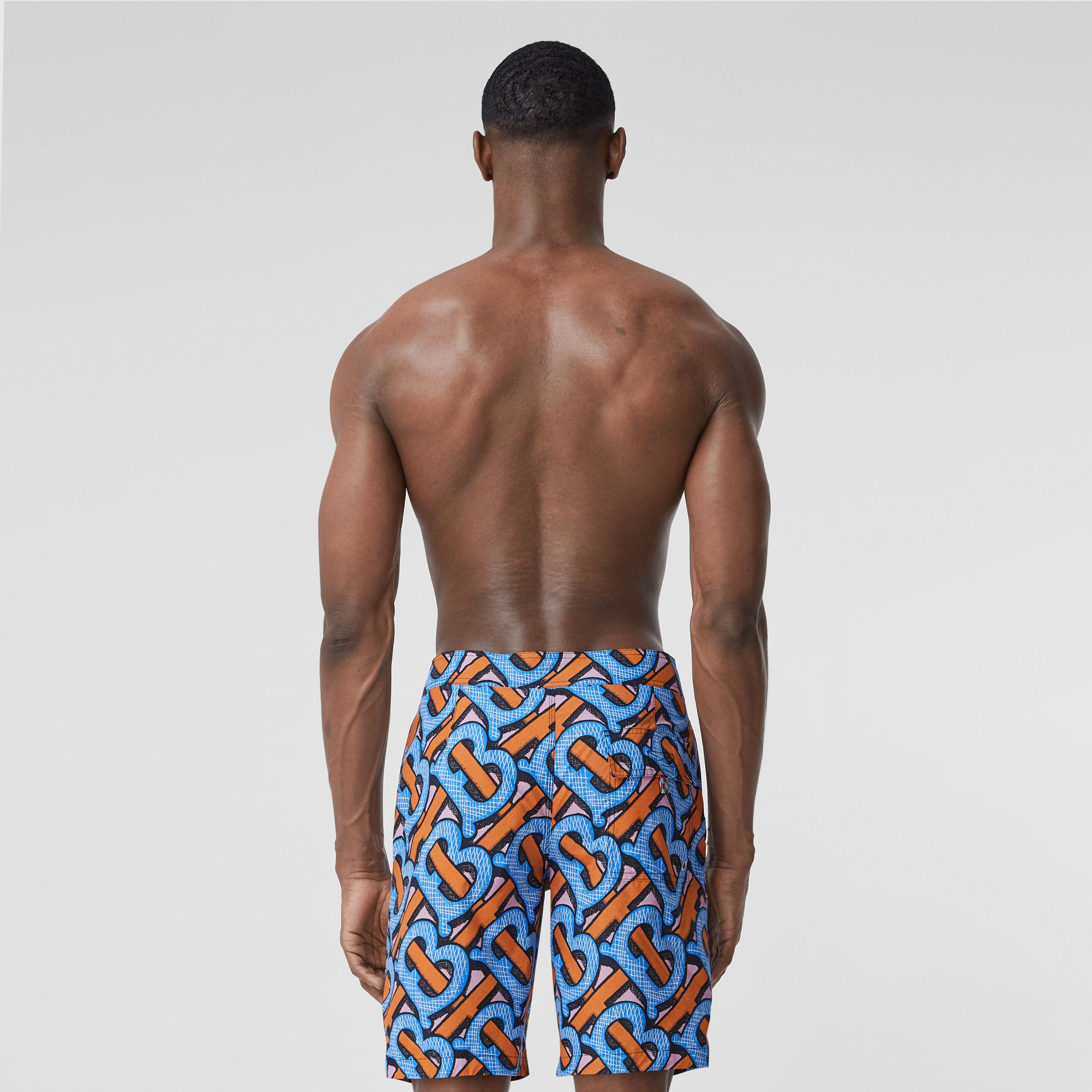 Monogram Print Swim Shorts in Bright Cobalt - Men | Burberry Australia - 4