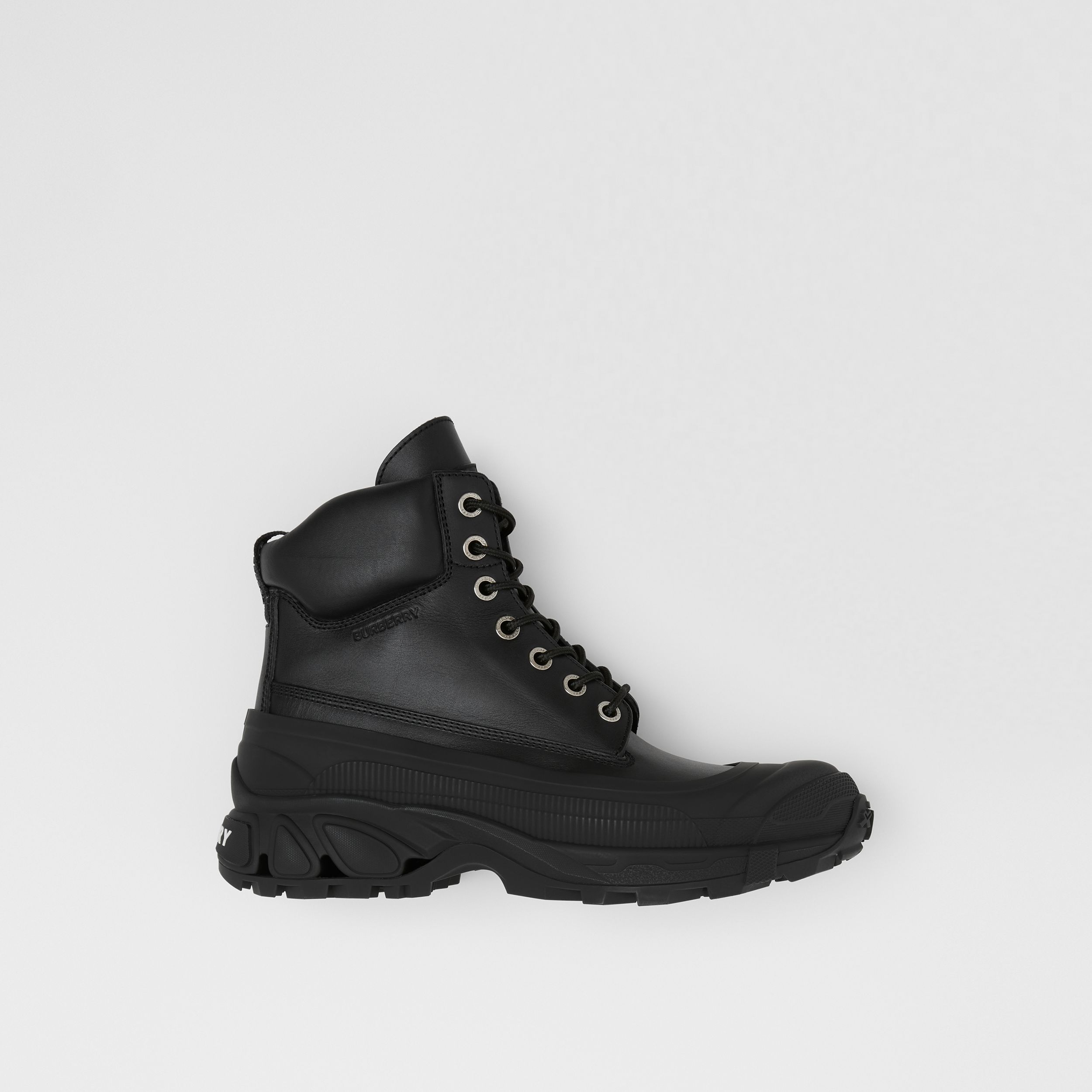 Contrast Sole Leather Boots in Black - Men | Burberry - 1